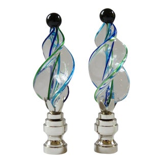 Turquoise Blue, Clear with Kelly Green Art Glass Twist Finials - a Pair