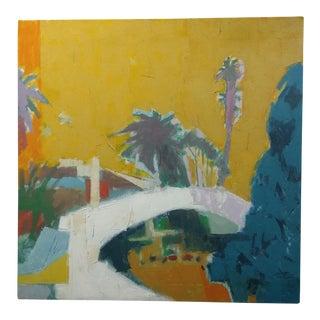 "Herb Kornfeld ""Bridge in Santa Monica"" Oil Painting"