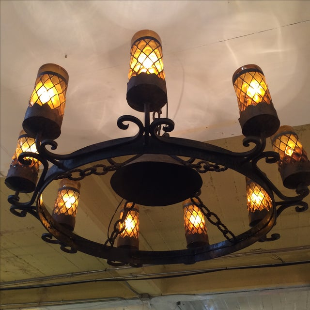 Spanish Revival Wrought Iron Chandelier - Image 4 of 7