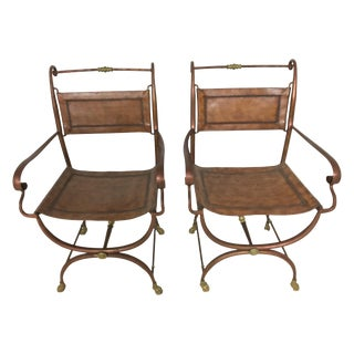 Leather Campaign Style Chairs - Pair
