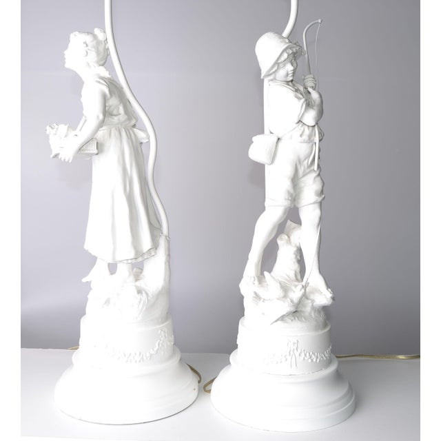 French Figurine Table Lamps - A Pair - Image 5 of 10