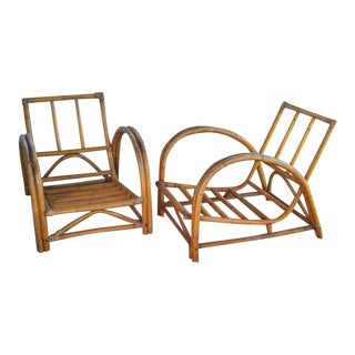 Mid-Century McGuire Style Curved Bentwood Bamboo Lounge Chairs - a Pair