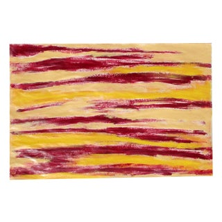 Alaina Abstract Red & Yellow Streak Painting