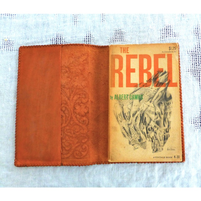 Mid-Century Hand-Crafted Brown Leather Book Cover - Image 3 of 5