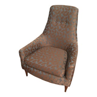 Mid-Century Modern Silk Leaf Upholstered Chair
