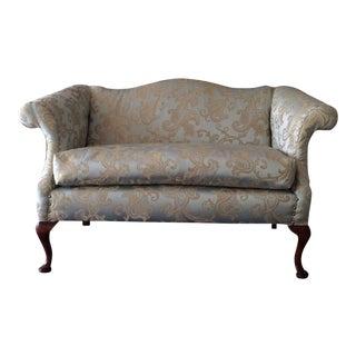 Reupholstered Brocade Fabric Settee