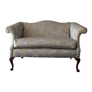 Reupholstered Brocade Fabric Settee