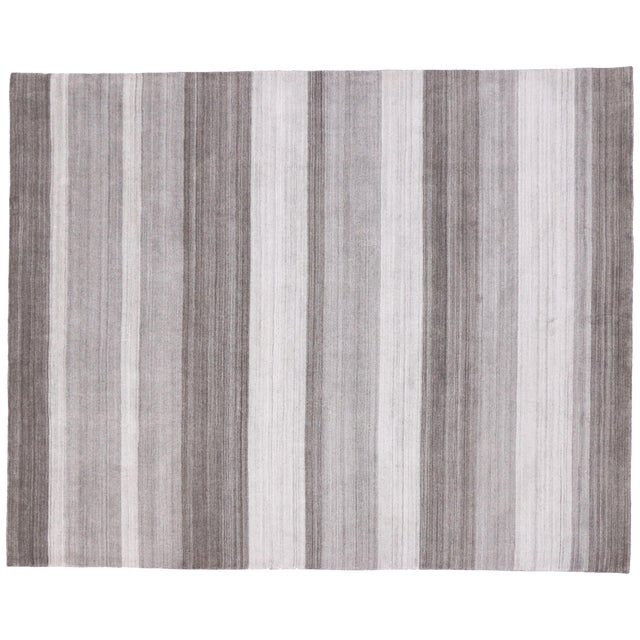 Image of Modern-Style Gray Gabbeh Rug - 8′ × 10′