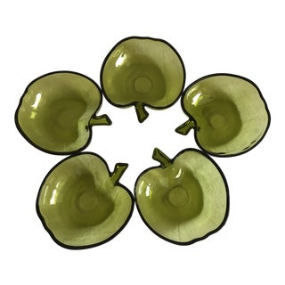 Vintage Green Apple Glass Bowls - Set of 5