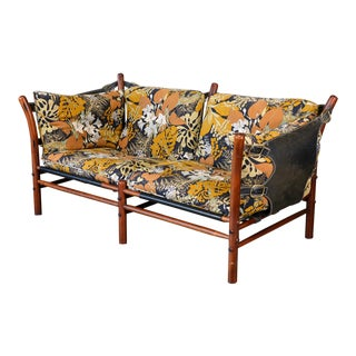 Arne Norell Ilona Floral Fabric & Leather Sofa