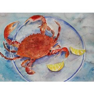 Crab with Lemons Original Watercolor
