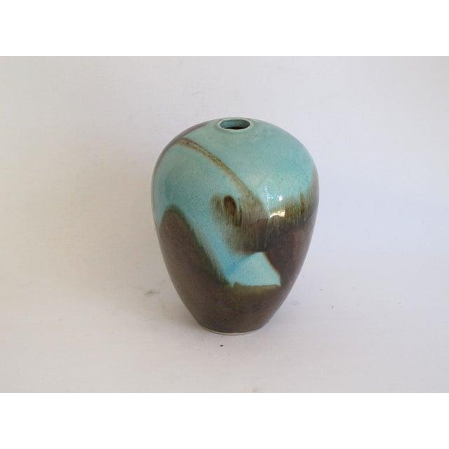 Teal & Brown Chinese Glazed Porcelain Vase - Image 6 of 6