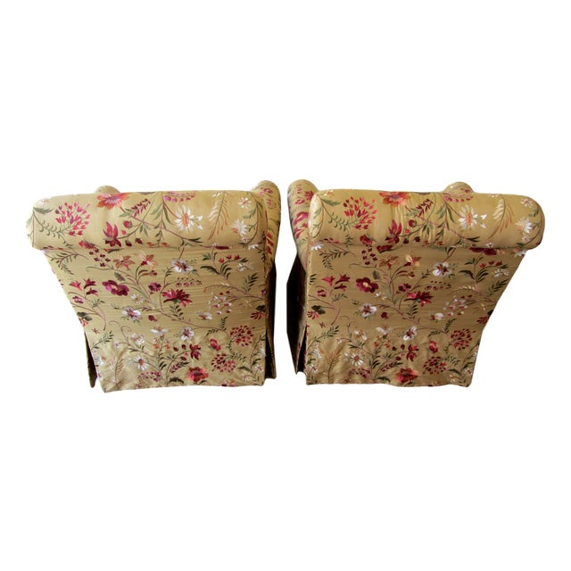 Silk Embroidered March Rocker Swivel Glider Chairs - a Pair - Image 4 of 6