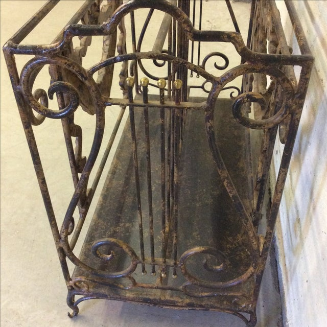 Ornate Lyre Iron Magazine Rack - Image 8 of 9