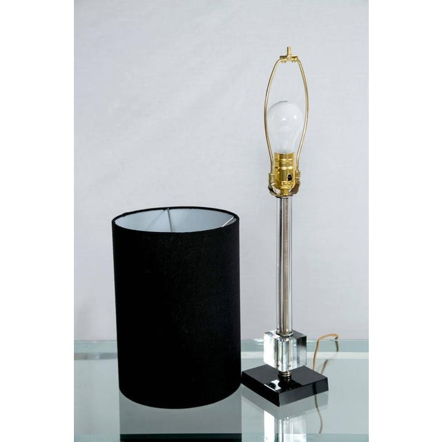 Petite Fluted Glass Task Lamp and Ebony Glass Base - Image 3 of 5