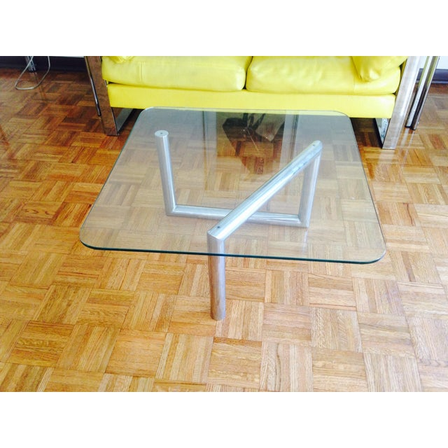 Image of Chrome Table With Abstract Base- 1970's Sleek