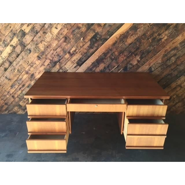 Image of Mid-Century Refinished Walnut Executive Desk