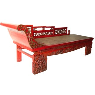 Antique Red Lacquer Daybed