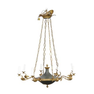 French Eight-Light Empire Style Bronze Chandelier from the Turn of the Century