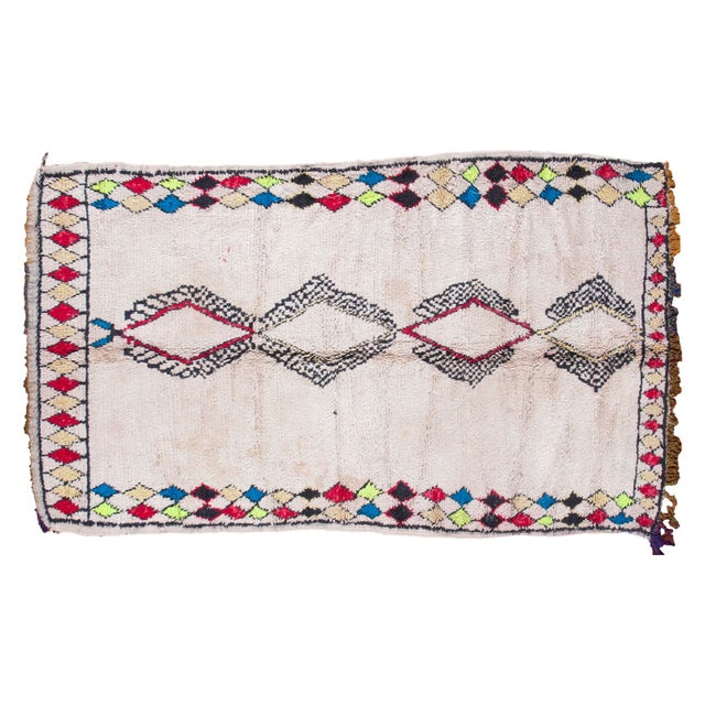 """Vintage Colorful Moroccan Rug - 4'2"""" x 7'3"""" - Image 1 of 5"""