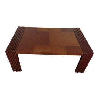 Vintage Carved Mahogany and Laminate Faux Veneer Coffee Table