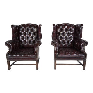 Vintage Leather Chesterfield Tufted Wingback Chairs - A Pair