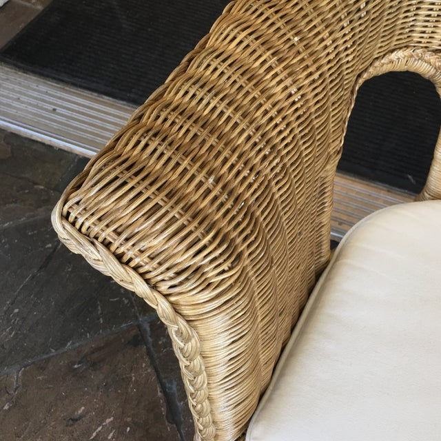 Stackable Wicker Arm Chairs & White Cushions - A Pair - Image 6 of 11