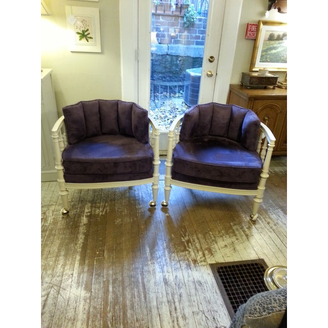 Vintage Purple Club Chairs - A Pair - Image 2 of 5