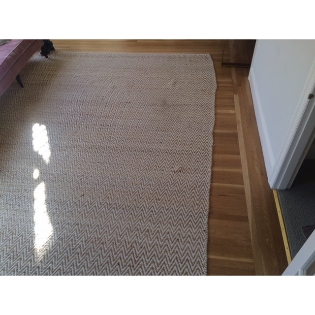 Chevron Rug in Beige and White - 9′ × 12′ - Image 6 of 9