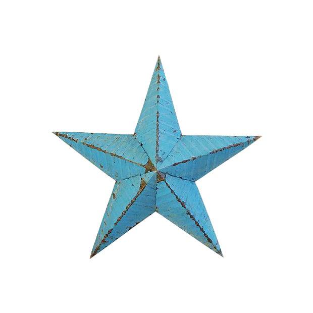 Large Reclaimed Barn Metal Blue Star - Image 1 of 6