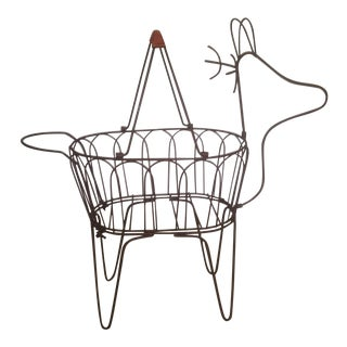 Large Vintage Metal Deer Planter/Basket