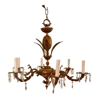 Antique Italian Brass Pineapple Chandelier