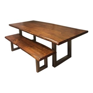 Live Edge Acacia Table and Bench