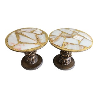 Hollywood Regency Gold Confetti Lucite & Stone Mosaic Side Tables - a Pair