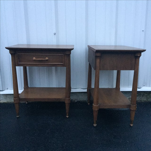Image of Mid-Century End Tables With Single Drawer - Pair