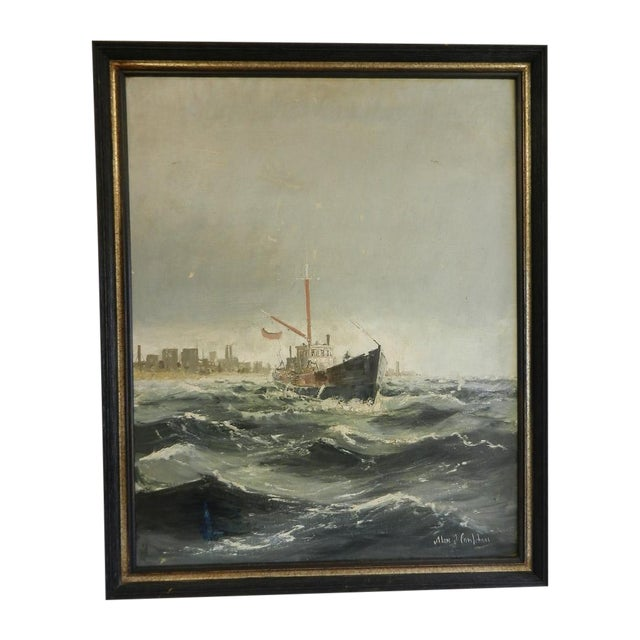 Framed Oil Seascape Painting - Image 1 of 7