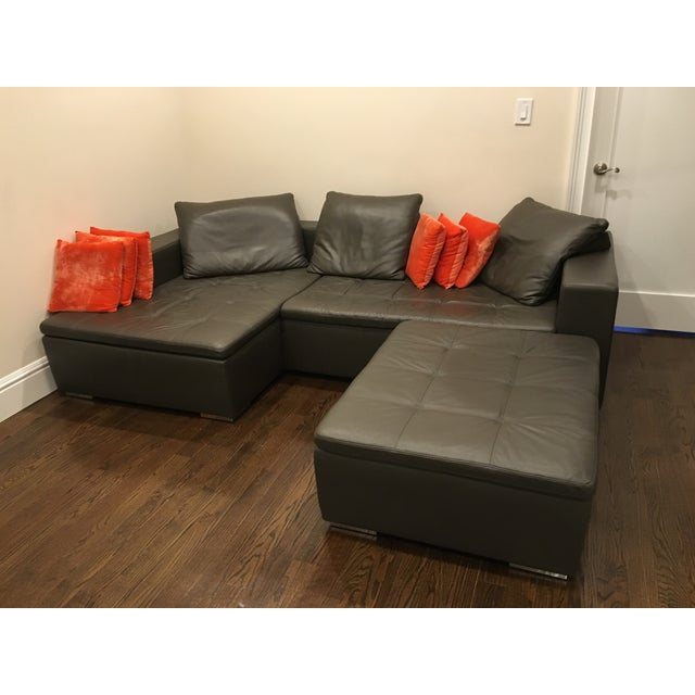 Image of Leather Corner Sofa with Pillows