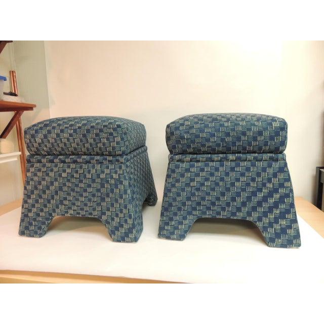 Vintage Stools Covered in Vintage Batik Indigo Textile - Pair - Image 2 of 6