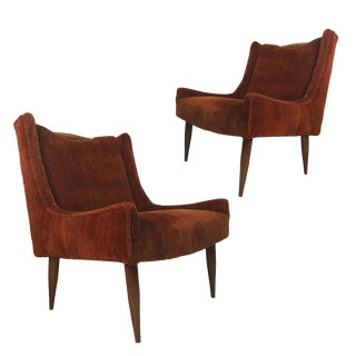 Sculptural Midcentury Harvey Probber Slipper Lounge Chairs with Walnut Detail