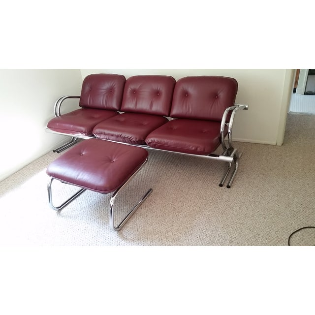 Vintage Chrome 3-Seat Sofa With Foot Stool - Image 8 of 9