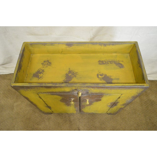 Primitive Distressed Painted Country Small Dry Sink Cabinet - Image 10 of 11