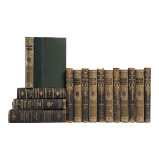 Distressed Ornate Leather Books- Set of 15