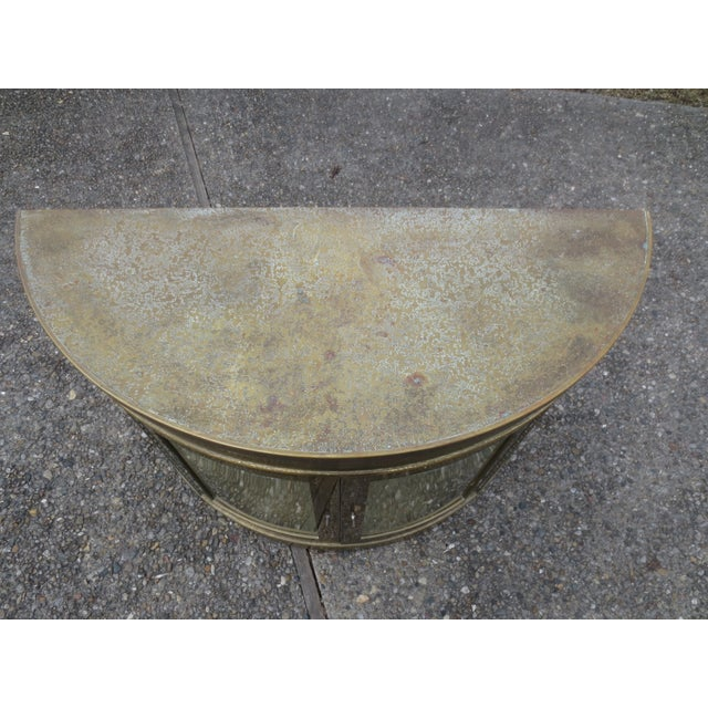 Mastercraft 1970s Lighted Demi-Lune Brass Console - Image 4 of 10