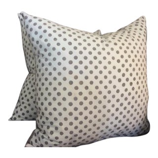 "Les Indiennes French Gray ""Monique"" Hand-Dyed Dot Linen Pillows - a Pair"