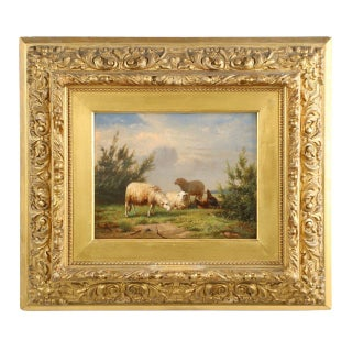 Eugene Verboeckhoven Sheep & Chickens at Pasture Painting