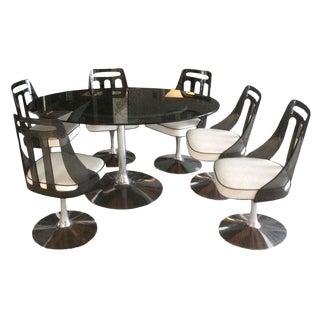 Mid-Century Smoked Glass, Chrome & Lucite Dining Set