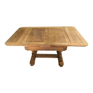 Vintage Oak Dining Table With Pull Out Extensions