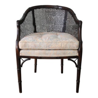 Faux Bamboo & Cane Barrel Back Chair