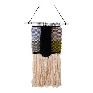 Handwoven Blue, Green, Tan, Grey, Black, and Cream Wall Hanging