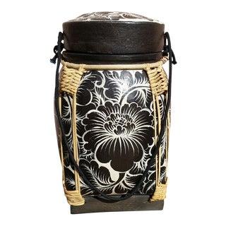 Handpainted Black & White Lidded Basket